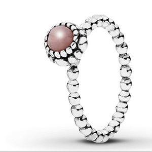 Pandora Birthstone Pink Opal Sterling Silver Ring